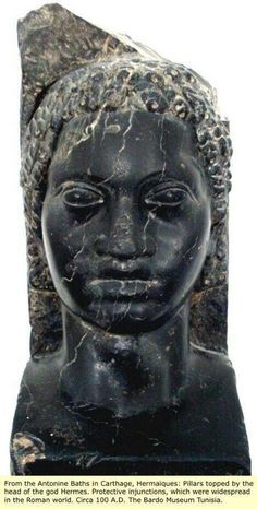 Black Roman God known as Hermes. He was also known as a patron of poetry.