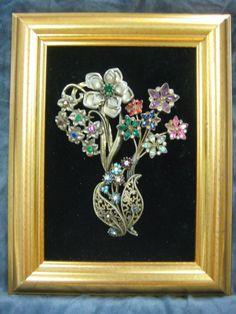 "Framed Vintage Jewelry Art - 7X9"" - Multi-Color Floral Bouquet - OOAK #Surrealism"