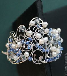 Купить Браслет Снежная Королева - голубой, комплект, серебристое, витое, wire wrap, романтичное, винтаж