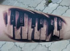 Piano Key Music Tattoo Designs