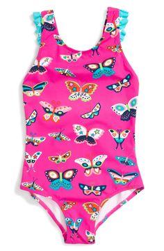 Hatley 'Electric Butterflies' Ruffle One-Piece Swimsuit (Toddler Girls, Little Girls & Big Girls)
