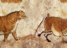 """Prehistoric cave painting: """"Fat Cat and Fat Horse"""". Lascaux Caves, 13 000 – 15 000 BC / Наскальная живопись : """"Толстый кот и толстый конь"""". Пещера Ласко, 13 000 – 15 000 BC"""