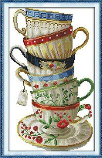 Happy Forever Cross Stitch, Elegant coffee cups