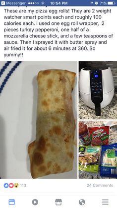 pizza egg rolls for air fryer WW - Recipe ideas - Air Frier Recipes, Air Fryer Oven Recipes, Ww Recipes, Skinny Recipes, Cooking Recipes, Recipies, W Watchers, Weight Watchers Snacks, Healthy Snacks