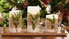 Candle Greenery.  I think each one on its own individual rounds block of birch wood is much prettier.