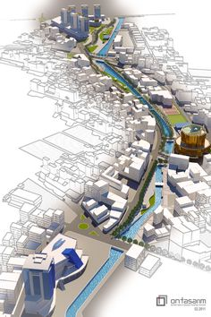 Aydin Tabakhane River Urban Design Project by ON Tasarim Viz by Mehmet Cikrik [link] & Me ArchiCAD (The Municipality Building modelling (Ufuk Ertem). Aydin Tabakhane River UD Viz Villa Architecture, Architecture Concept Diagram, Architecture Graphics, Architecture Drawings, Sustainable Architecture, Architecture Diagrams, Urban Design Diagram, Urban Design Plan, Design Design