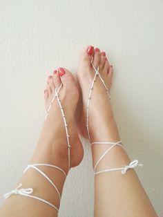 Wedding white & silvery   barefoot sandalsbridal by ArtofAccessory, $9.99