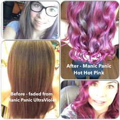 Manic Panic Hot Hot Pink on Unbleached Hair I love it! #manicpanic #hothotpink