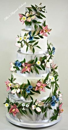 Flower Garland Wedding Cake by Ellie @ Ellie's Elegant Cakery - http://cakesdecor.com/cakes/273198-flower-garland-wedding-cake
