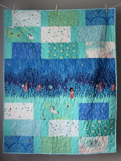Turquoise Baby Quilt- Wee Wander Quilt-Gender Neutral Quilt- Baby Boy Quilt- Turquoise Aqua Blue- Turquoise Nursery- Woodland Baby Quilt
