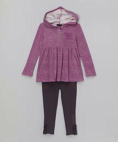 Pink Hooded Tunic & Navy Leggings - Infant, Toddler & Girls