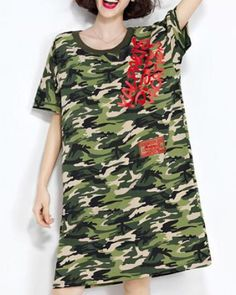 Loose camouflage t shirt dress letter pattern for women