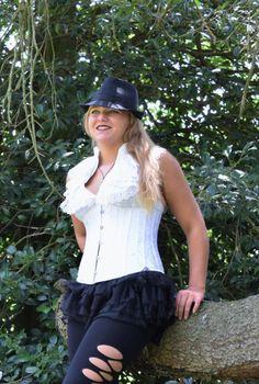 White Underbust Corset, brocade, pure white, steampunk, reniassance, fantasy…