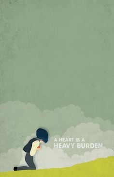 """A heart is a heavy burden."" Howl Poster on Behance. Minimalistic poster design inspired by characters and dialog from the novel""Howl's Moving Castle"" by Diana Wynne Jones, and the imagery of the anime film of the same name by Hayao Miyazaki. Artist: Casey Webb."