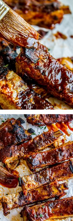 "This slow-roasted then grilled recipe for fall-off-the-bone pork ribs is famous. ""Nana"" has been making this recipe for ribs and BBQ sauce for decades!"