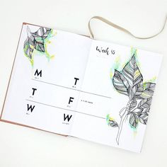Bullet Journal Layout IdeasBullet journal weekly layout, minimalist date format, leaf drawings.