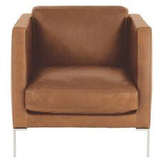 NEWMAN Mid-tan leather armchair