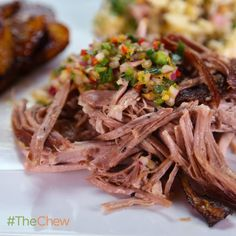 Mario Batali's Roast Pork (pernil) with Mojo Dipping Sauce! The Chew Recipes, Pork Recipes, Sauce Recipes, Mexican Food Recipes, Dinner Recipes, Cooking Recipes, Ethnic Recipes, Italian Recipes, Dinner Ideas