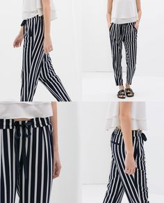 STRIPED TROUSERS WITH LACES from Zara