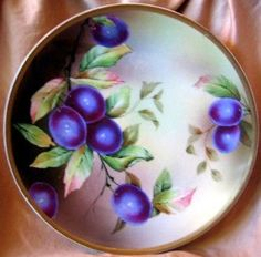 Decorative Plate - Purple Plum Hand Painted German Vintage Plate Gold Leaves
