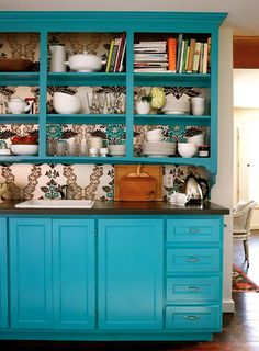 turquoise china cabinet