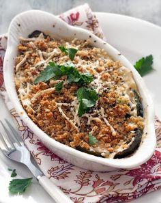 Karina's zucchini gratin recipe with gluten-free bread crumbs... Italian comfort food.