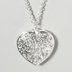 Silver Filigree Heart Necklace | Claire's