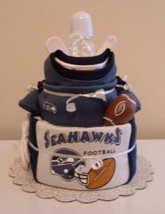 Seahawks Diaper Cake -Idea for the Collins' Baby :)