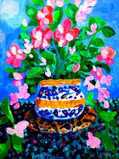 "Saatchi Art Artist Nada  Sucur Jovanovic; Painting, ""Flower  in blue pot"" #art"