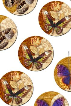Digital Collage Sheet Butterfly 1 inch round Scrapbooking