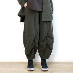 6299 文艺范宽松褶皱灯笼裤【4色】