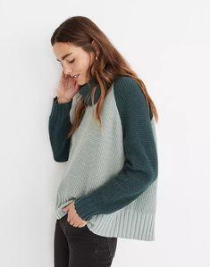 Colorblock Eastbrook Turtleneck Cross-Back Sweater in Cotton-Merino Yarn