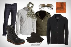 UGG Australian Hamric Quilted Boot ($250). Paul Smith Barrick Aviator ($310). Naked and Famous Denim ($170). 1901 Nep Cotton Woven Shirt ($70). Gant Rugger Down Puffer Vest ($375). Polo Ralph Lauren Plaid Scarf ($58). Topman Shawl Cardigan ($80). Burberry Touch Screen Cashmere Gloves ($215). Hav-a-Hank Pocket Square ($16)