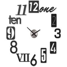Umbra Numbra Wall Clock (50.030 CLP) ❤ liked on Polyvore featuring home, home decor, clocks, black, black clock, black wall clock, black home decor, whimsical wall clocks and whimsical home decor