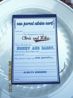 Baseball Baby Shower - Advice Card