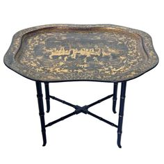 Chinese Export Black Tole Tray on Stand  circa 1820