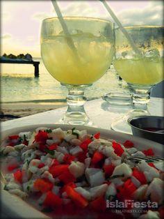 Fresh Ceviche + Margaritas from Minino's -- Isla Mujeres, Mexico --  Facebook.com/ IslaMujeresFiesta