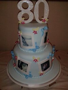 Love the idea with the pictures, would be great for a graduation cake - exchange the 80 with a graduation hat!