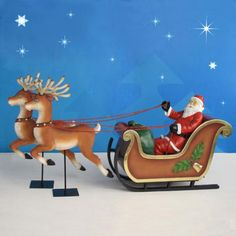 This fun Santa Sleigh and Reindeer set is rich with detail and character.   The Santa Sleigh and Reindeer are  crafted in durable chip-resistant fiberglass and made to withstand the elements.  Each Reindeer comes with stand and a long and short rod for choice of display height. $999.00