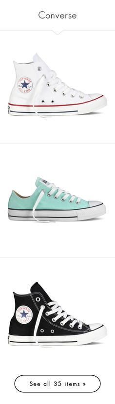 """""""Converse"""" by ctaylor78 ❤ liked on Polyvore featuring shoes, sneakers, converse, white, white high top sneakers, high top trainers, white hi top sneakers, white shoes, high top shoes and 18. converse."""
