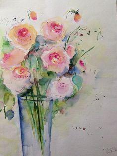"Aquarell , "" Rosenstrauß "" Blumen , 30 x 40 cm , Unikat in Antiquitäten & Kunst, Malerei, Aquarelle | eBay!"