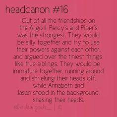 percy jackson headcannons | annabeth chase, jason grace, percy jackson, piper mclean, heroes of ...