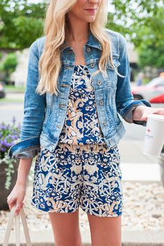 patterned romper with denim jacket