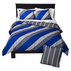 Cayden's Room with Blue sheets?
