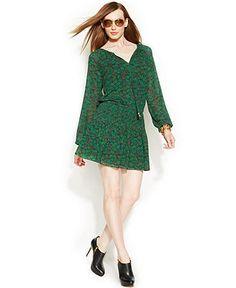 MICHAEL Michael Kors Peacock-Print Pleated Dress - Dresses - Women - Macy's