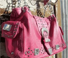 """Wyoming Bling Purse    Pink with partial chain handle, outside side pockets, top zipper, fully lined    Measures 15.5"""" x 9"""" x 4.5"""" approx"""