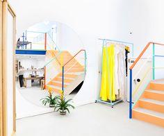 Staircase Idea - Paint Colors - Retail Space - Mociun White - Commercial Design - Bridal Showroom