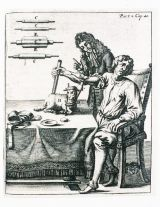 """Blood had also been revered by the medical community for its curative and sometimes magical power, and some seventeenth century physicians had other goals in mind for its use based on the concept of """"vitalism,"""" which was the belief that an individual or animal's personality could perhaps be transferred by way of its blood. This is an illustration of a transfusion from a docile lamb to perhaps an over aggressive man."""