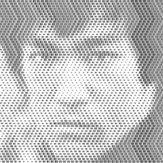 Barcode portrait of Bruce Lee