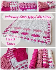 #4 of the Valentine Dishcloth Collection: Heart Rows. Free Crochet Pattern